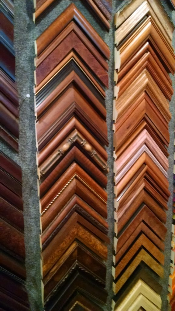 Daphne's Custom Framing- Wood tone frame samples