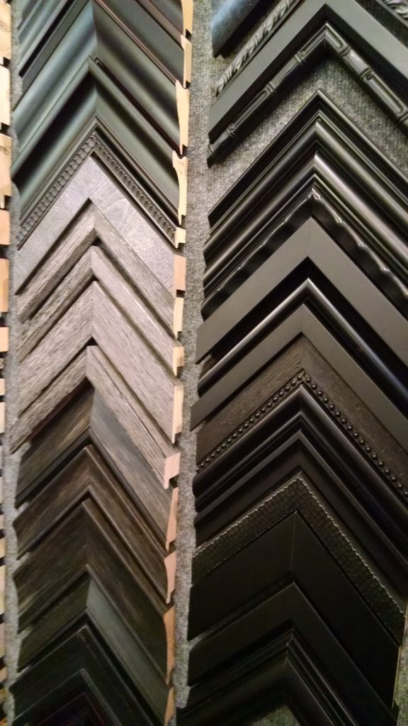 Daphne's Custom Framing- Black and gray wood tone frame samples
